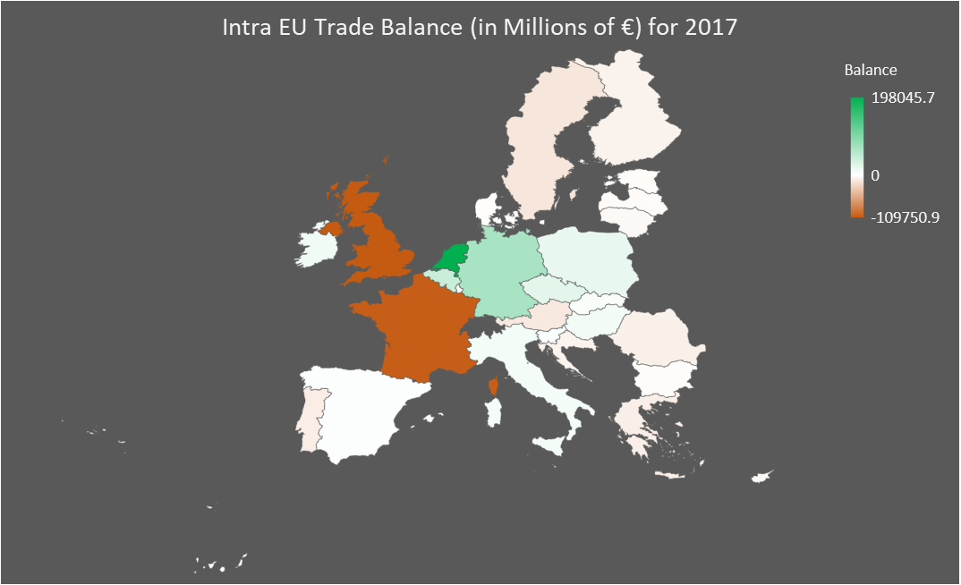 Intra EU Trade Balance 2017 Map